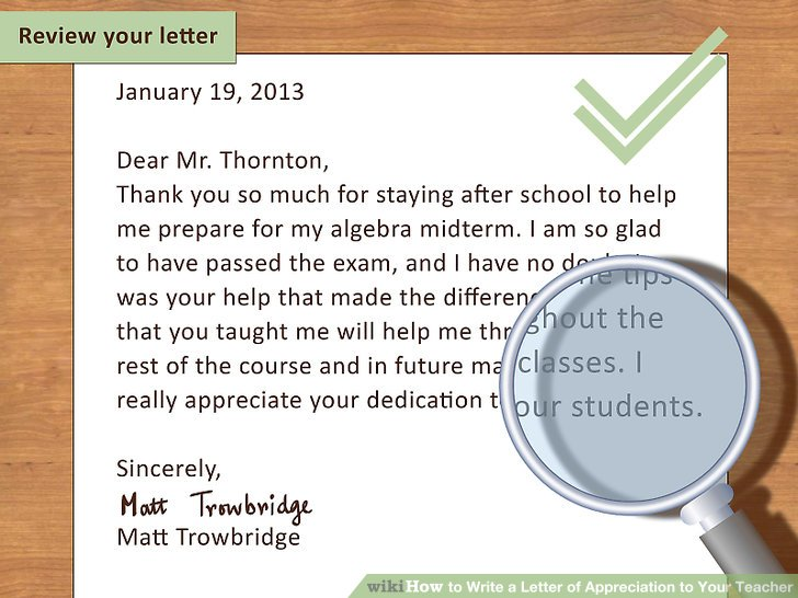 how to write a good review for a teacher